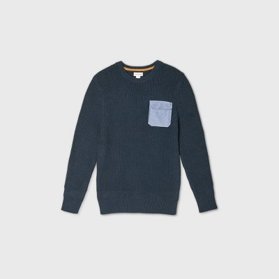 Boys' Crew Neck Sweater with Utility Pocket - Cat & Jack™ Navy XXL