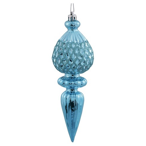 3ct Baby Blue Glitter Finial Christmas Ornament Set - image 1 of 1