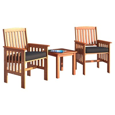 Miramar 3pc Wood Patio Chat Set - Cinnamon Brown/Black - CorLiving