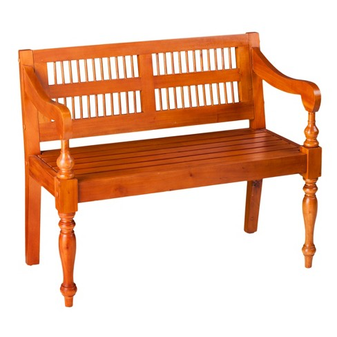 Farmhouse Solid Mahogany Turned Leg Bench - Natural - Aiden Lane - image 1 of 4