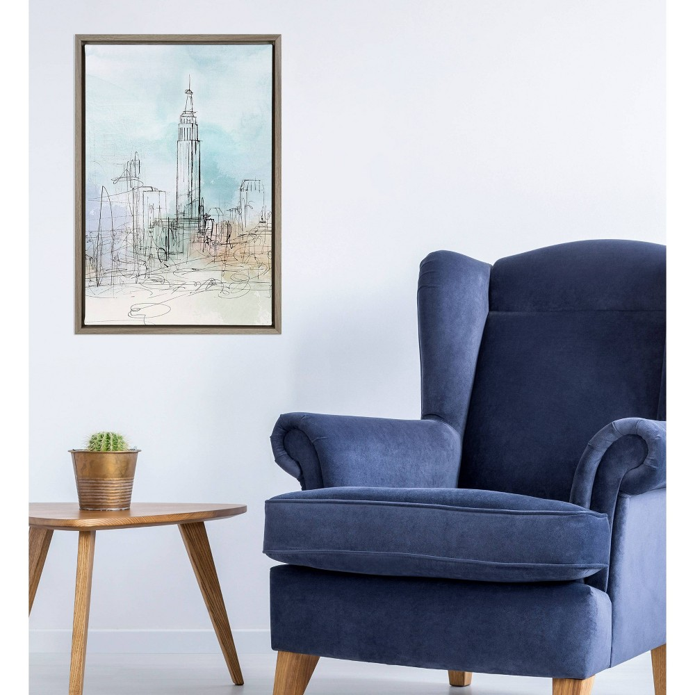 """Image of """"16"""""""" x 23"""""""" Blue London by Isabelle Z Framed Wall Canvas Gray - Amanti Art"""""""
