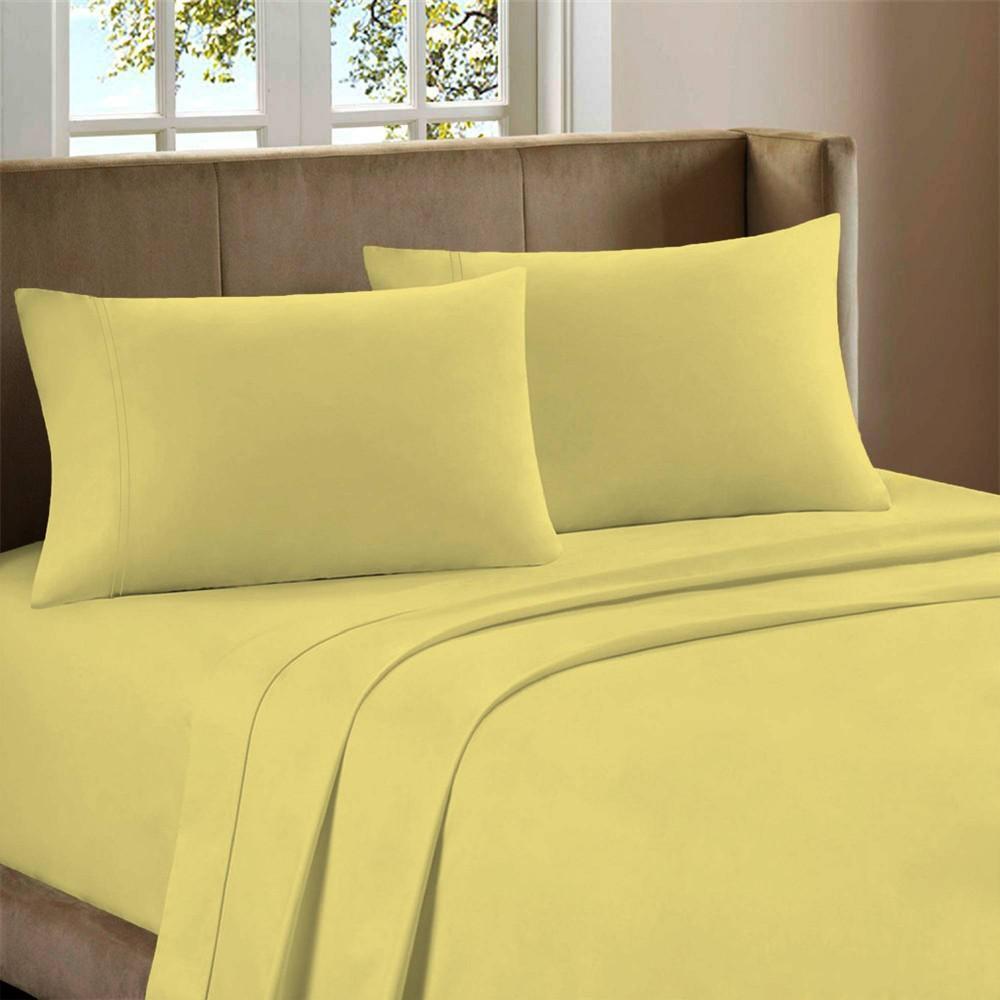 Queen 800 Thread Count Cotton Rich Sateen Sheet Set Yellow Color Sense