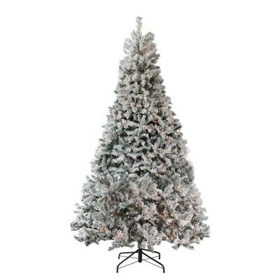 Northlight 7.5' Prelit Heavily Artificial Christmas Tree Medium Flocked Pine- Clear Lights