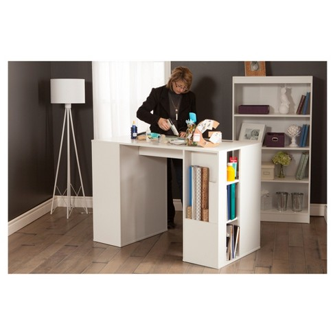 counter height craft table Crea Counter   Height Craft Table with Storage   Pure White  counter height craft table