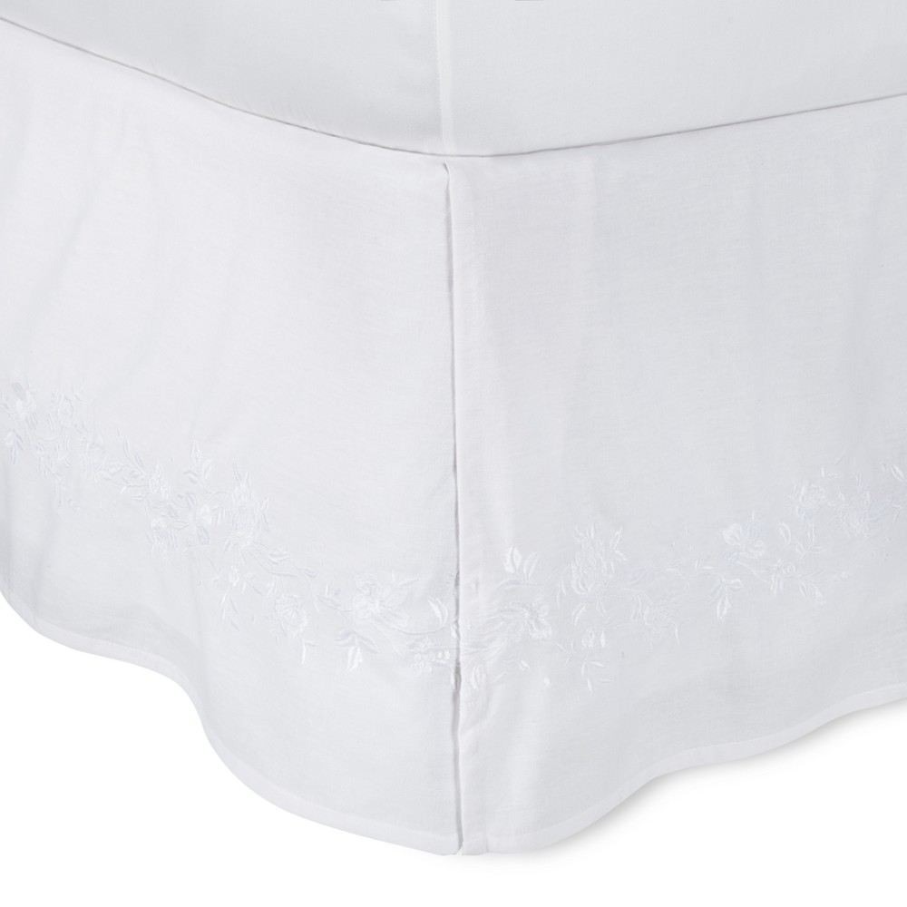 Image of White Embroidered Bed Skirt (King) - Simply Shabby Chic