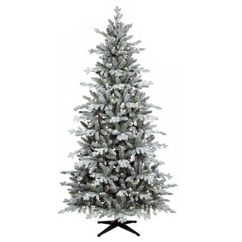 7ft Prelit Artificial Christmas Tree Flocked Balsam Fir Warm White Sphere Led Lights Wonder