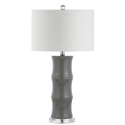 "26.5"" Tiki Ceramic LED Table Lamp Gray (Includes Energy Efficient Light Bulb)- JONATHAN Y"