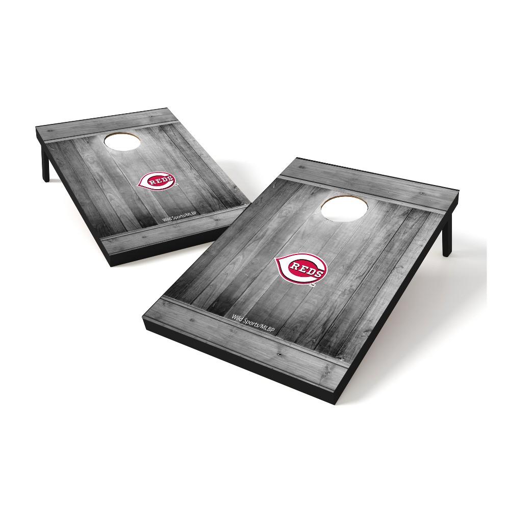 Cincinnati Reds Wild Sports 2x3 Rustic Wooden Plaque Gray Wash Tailgate Toss