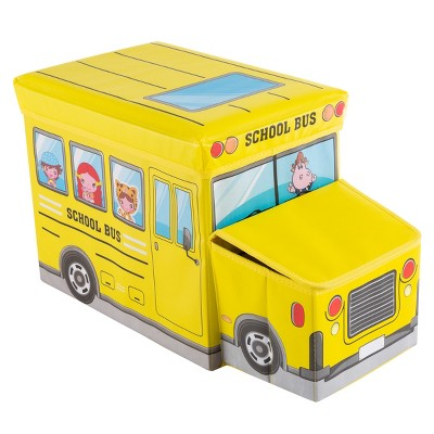 Collapsible Truck School Bus Toybox - Folding Storage Bin Playroom, Bedroom or Nursery Organizer Container for Dress Up, Stuffed Animals by Toy Time