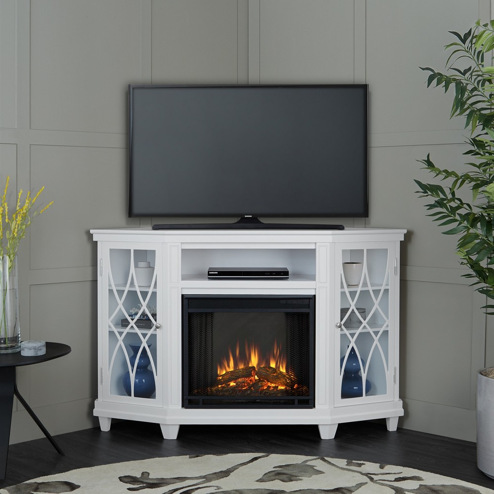 Image of Real Flame Lynette Electric Fireplace Entertainment Center - White