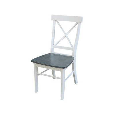Set of 2 X Back Chairs with Solid Wood Seat White/Gray - International Concepts