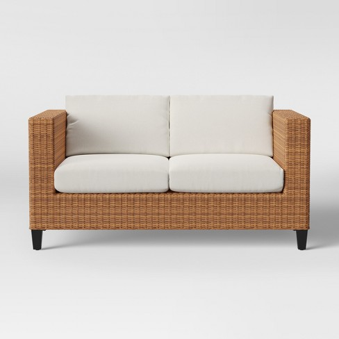 Fullerton Steel Wicker Patio Loveseat Linen - Project 62™ - image 1 of 4