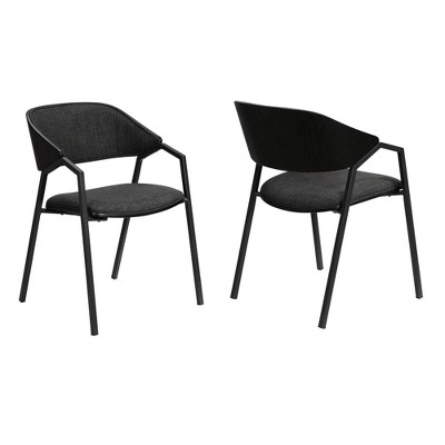 Set of 2 Austin Modern Dining Accent Chairs Charcoal - Armen Living