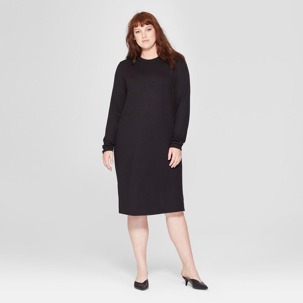 Women's Plus Size Long Sleeve Knit Midi Dress - Prologue Black 4X