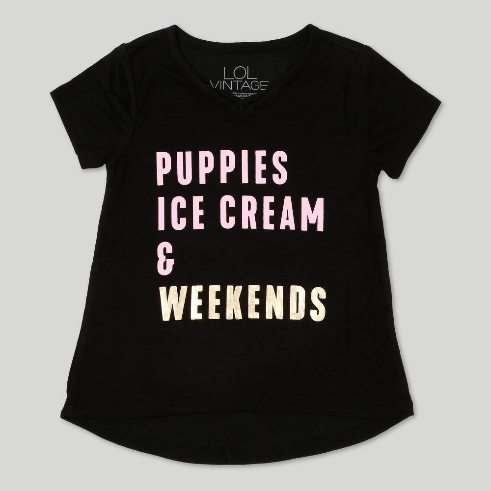 Toddler Girls' L.O.L. Vintage Short Sleeve T-Shirt Gold Weekends - Black -3T, Size: 3T