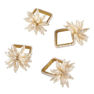 Ivory Faux Pearl Flower Design Wedding Special Napkin Ring Set of 4 - Saro Lifestyle