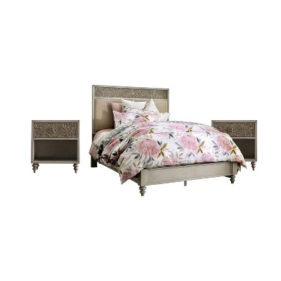 3pc Del Grande Bedroom Set with 2 Nightstands Antique White/Beige - HOMES: Inside + Out