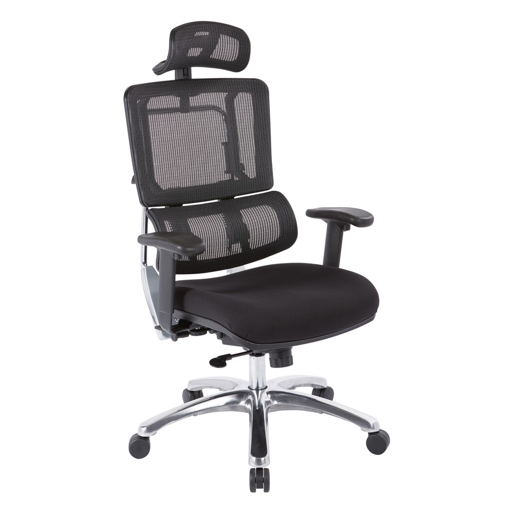 Vertical Mesh Back And Coal Fabric Seat With Polished Aluminum Base With Headrest Black - Osp Designs