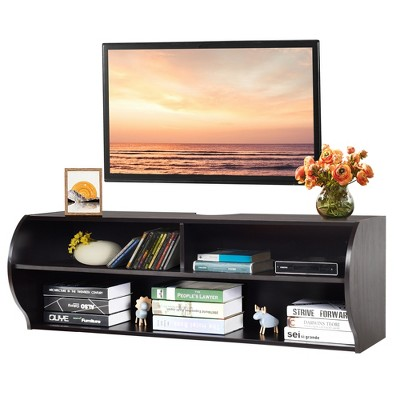 Costway 48.5'' Wall Mounted Audio/Video TV Stands Console Living Room Furniture W/Shelves