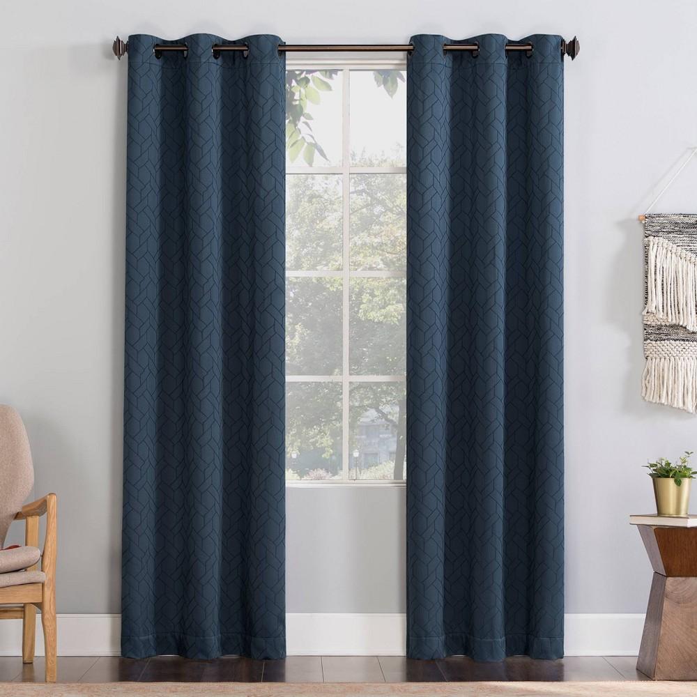 84 34 X40 34 Matias Trellis Draft Shield Fleece Insulated Energy Saving Grommet Top Room Darkening Curtain Panel Blue No 918