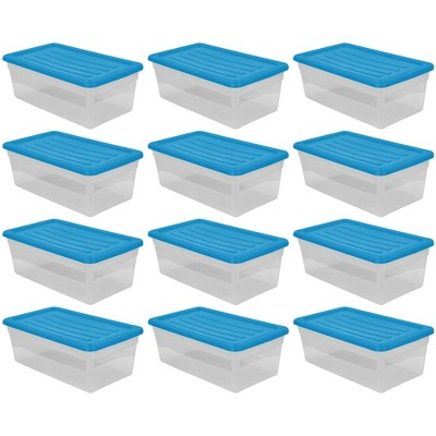 Gracious Living DLC6 1.5 Gallon Clear Plastic Storage Bin Container with Blue Lid (12 Pack)