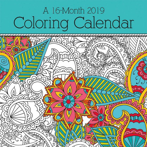 2019 wall calendar coloring book trends international