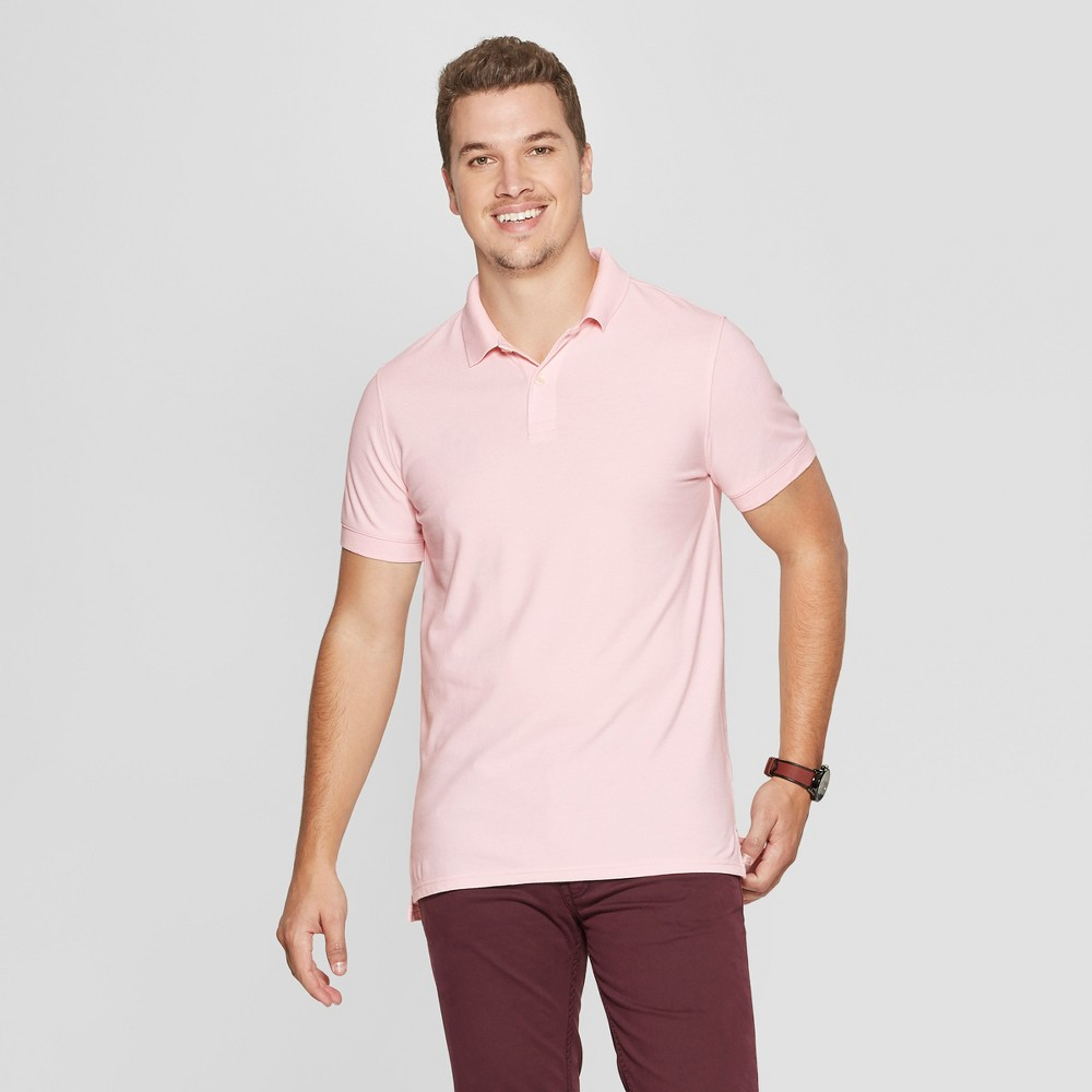 Men's Slim Fit Short Sleeve Loring Polo Shirt - Goodfellow & Co Pink Dust XL