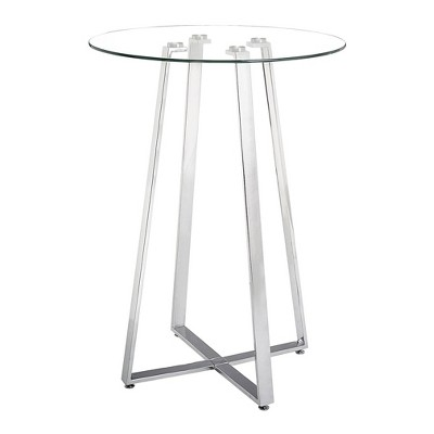 """43"""" Modern Round Bar Height Table Tempered Glass and Chromed Steel - ZM Home"""
