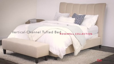e92c5941fd8b Rosewell Fabric Vertical Channel Tufted Bed Frame - CorLiving : Target