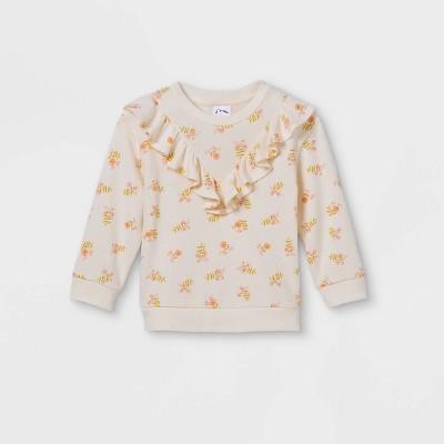Toddler Girls' Floral Ruffle Sweatshirt - art class™ Cream