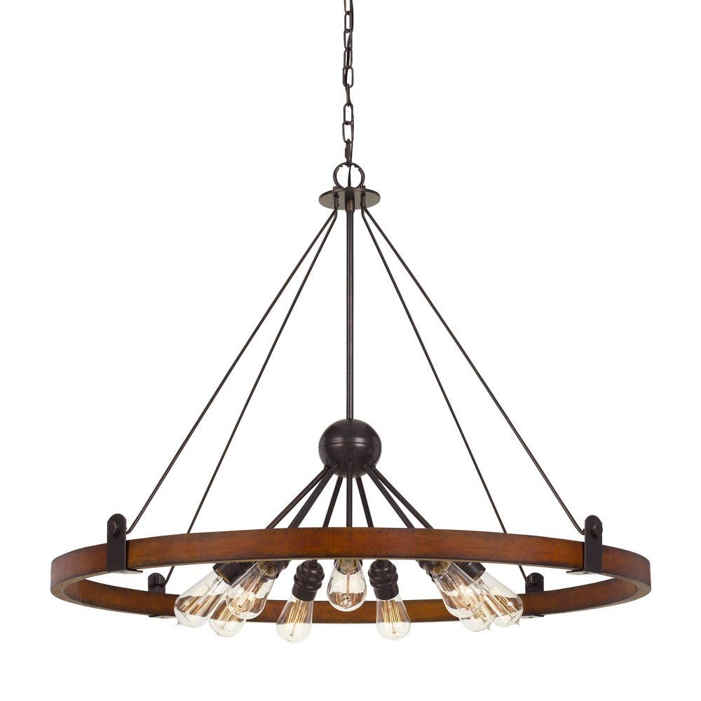 60W X 9 Lucca Wood/Metal Chandelier Ceiling Light (Edison Bulbs Not Included) - Cal Lighting, Multi-Colored