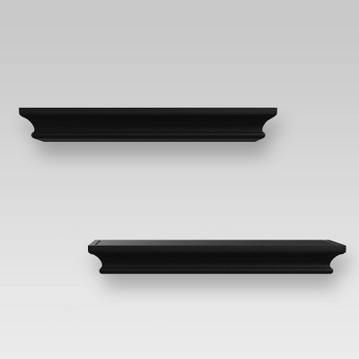 2pc Traditional Wall Shelf Set Black - Threshold™