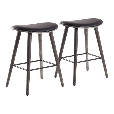 "Set of 2 26"" Saddle Counter Height Barstools with Faux Leather - LumiSource"