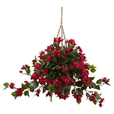 Nearly Natural Bougainvillea Hanging Basket UV Resistant (Indoor/Outdoor)