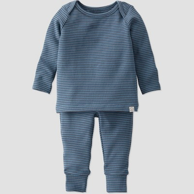 Baby Boys' 2pc Organic Cotton Lap Shoulder Top and Bottom Set - little planet by carter's Blue