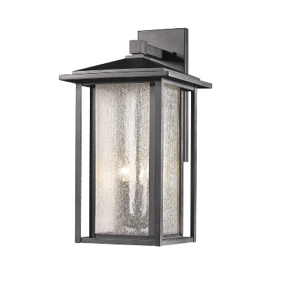 3 Light Outdoor Wall Sconce with Seedy Glass Black - Aurora Lighting