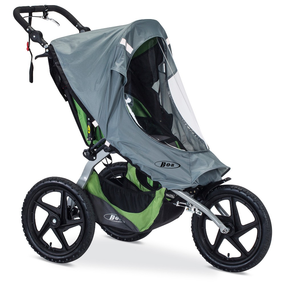 Bob Weather Shield for Fixed Wheel Single Strollers, Gray Stay active as a family, rain or shine, with the Bob weather shield for fixed wheel single strollers. This accessory helps keep your little one warm and dry in windy and rainy weather. The water-resistant design features a clear window so your child can take in the world during your adventures together. This shield is compatible with the Bob Blaze, Ironman and Sport Utility single strollers with a manufacture date of November 2015 or later. Color: Gray. Gender: Unisex.