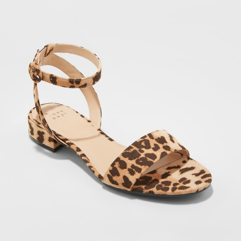 Women's Winona Leopard Ankle Strap Sandals - A New Day Brown 7