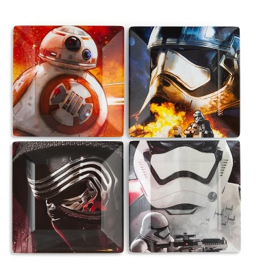 Seven20 Star Wars Melamine Plate Set - 4 Pieces - Stormtrooper, Kylo Ren, and BB8