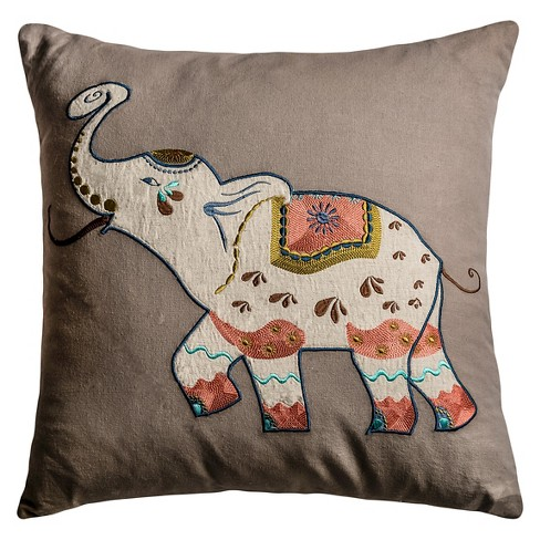 "Applique Elephant Throw Pillow (20""x20"") - Rizzy Home - image 1 of 1"