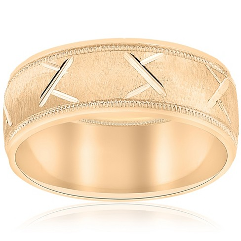 Pompeii3 10k Yellow Gold Mens Wedding Band with Satin Finish and Cuts 8mm - image 1 of 3