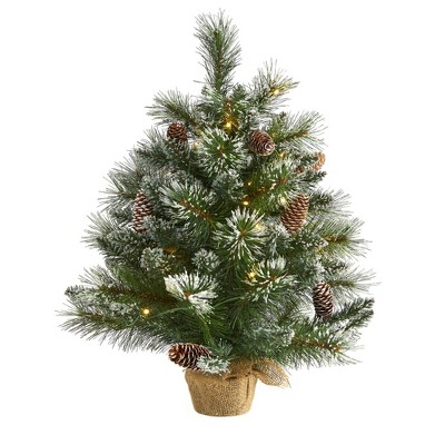 2ft Nearly Natural Pre-Lit LED Frosted Pine Artificial Christmas Tree Clear Lights in Burlap Base
