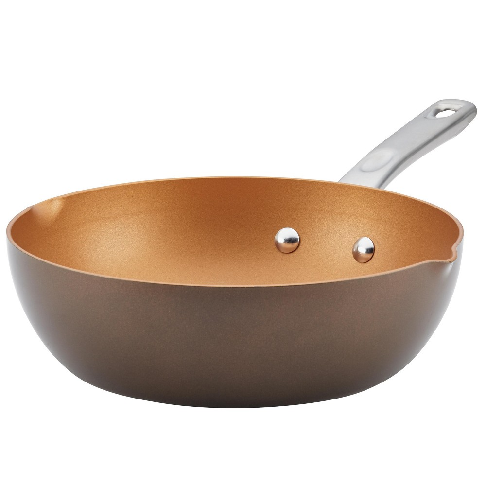 "Image of ""Ayesha Curry 9.75"""" Home Collection Porcelain Enamel Nonstick Chef Pan With Pour Spouts, Brown Sugar"""