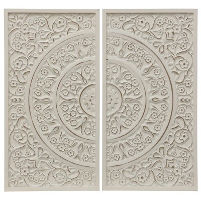 25  2pc Patterned Wood Decorative Wall Art White - StyleCraft