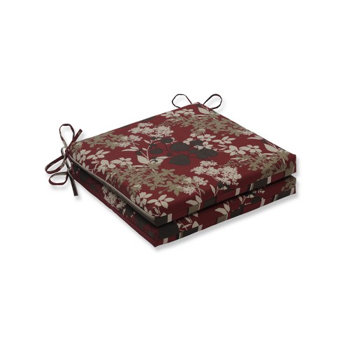 2pc Squared Corners Outdoor Seat Cushion - Brown - Pillow Perfect - image 1 of 1