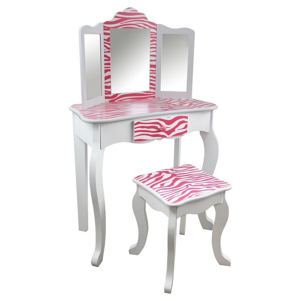 Kids Vanity Table and Stool Set Wood/Zebra - Teamson