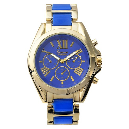 Women's Geneva Platinum Color-Pop Two-Tone Link Watch - image 1 of 3