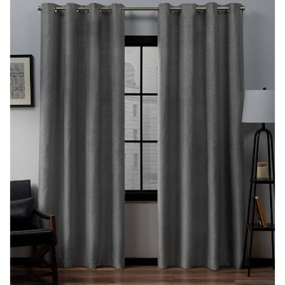 """Set of 2 (63""""x52"""")Loha Linen Grommet Top Light Filtering Curtain Panel Black Pearl - Exclusive Home"""