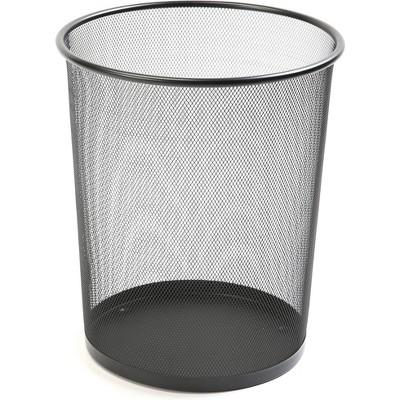 """Lorell Round Waste Bin Steel Mesh 4.7 Gal. 12""""x14-1/4"""" Black 52770"""