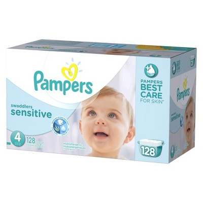 Pampers Swaddlers Sensitive Diapers Economy Plus Pack Size 4 (128 Count)